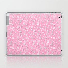 Festive Sweet Lilac Pink and White Christmas Holiday Snowflakes Laptop & iPad Skin