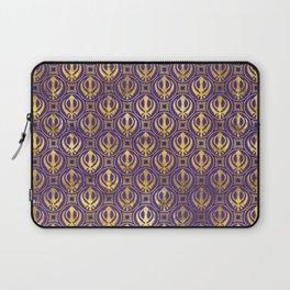 Golden Khanda pattern on violet Laptop Sleeve