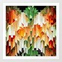 Geometric Tiled Orange Green Abstract Design by artaddiction45