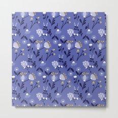 Blue Vintage Flower Pattern Metal Print