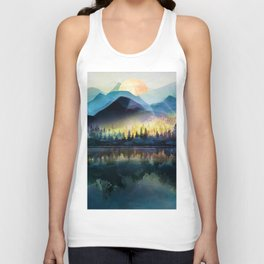 Mountain Lake Under Sunrise Unisex Tanktop