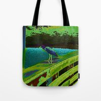 matisse Tote Bags featuring Heron Matisse by Ellen Turner