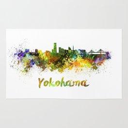 Yokohama skyline in watercolor Rug