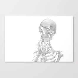 Thinking Skeleton (Black and White) Canvas Print