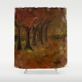 The Trees Beside the Lake Shower Curtain
