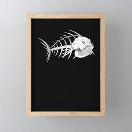 Bass Fish Skeleton for Aquatic Horror Fan Framed Mini Art Print