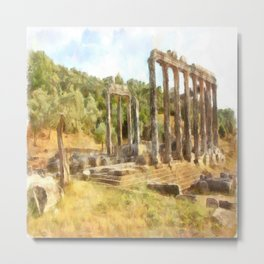Fallen Ruins of Euromos Watercolor Metal Print