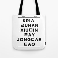 "exo Tote Bags featuring EXO M- Hangeul: ""Love City"" Inspired by 00yu"
