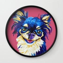 Happy Blue Chihuahua Wall Clock