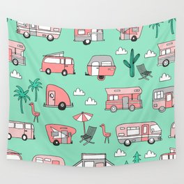 Camper summer vacation tropical pattern RV van life print by andrea lauren Wall Tapestry