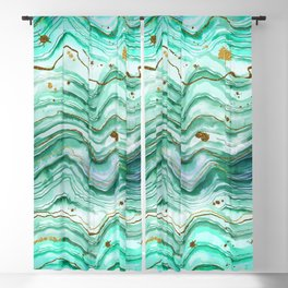 Green Geode Watercolor Blackout Curtain