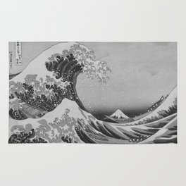Black & White Japanese Great Wave off Kanagawa by Hokusai Rug