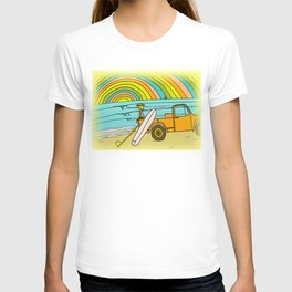 Retro Surf Days Single Fin Pick Up Truck T-shirt