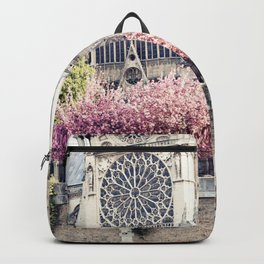 Cherry blossoms in Paris, Notre Dame Viwe Backpack