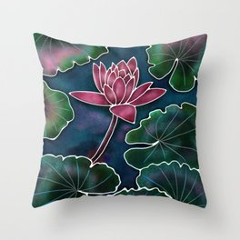 Lotus in a Pond Throw Pillow