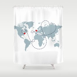 Long Distance World Map - UK to New York Shower Curtain