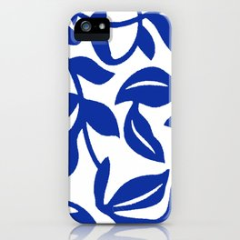 PALM LEAF VINE SWIRL BLUE AND WHITE PATTERN iPhone Case