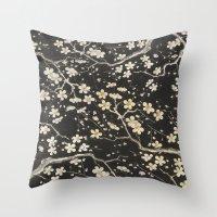sakura Throw Pillows featuring Sakura by Paula Belle Flores