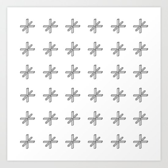 CROSS OUT WHT Art Print