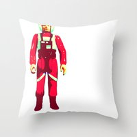 pilot Throw Pillows featuring pilot by BzPortraits