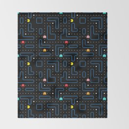 Pac-Man Retro Arcade Gaming Design Throw Blanket
