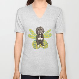 Cute Fluffy Dog Portrait with Big Colorful Wings Unisex V-Neck