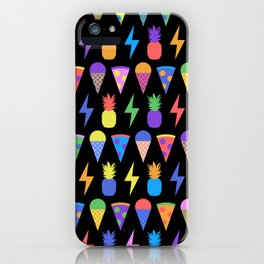 Ice Cream, Pizza, Pineapple, Electricity (Fun Colourful Pattern Black Background) iPhone Case