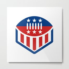 American Football USA Flag Crest Icon Metal Print