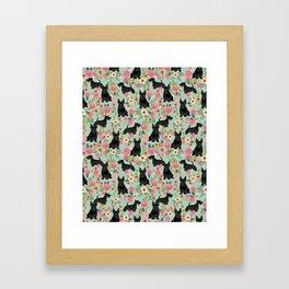 Scottish Terrier florals pattern dog breed dog art pet portraits pet friendly scottie gifts Framed Art Print