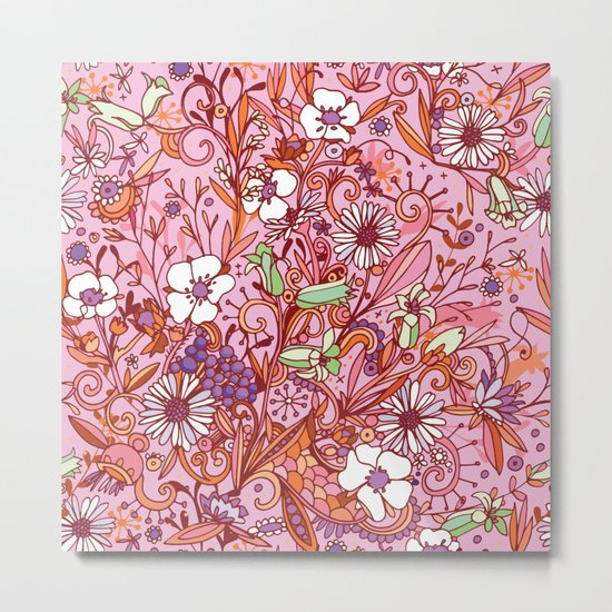 Daisy and Bellflower pattern, pink Metal Print