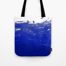 Water waves ocean sea bright blue modern painting minimal monochromatic urban dorm college art Tote Bag