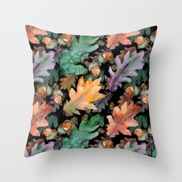 Colorful Woodland Watercolor Oak And Acorn Pattern Throw Pillow