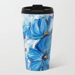 Abstract Blue Poppies Travel Mug