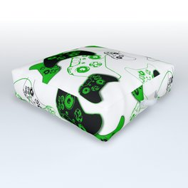 Video Game White and Green Outdoor Floor Cushion