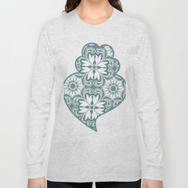 Traditionall portuguese Viana's heart and azulejo tiles background Long Sleeve T-shirt