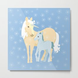 Unicorns. Mom and baby Metal Print