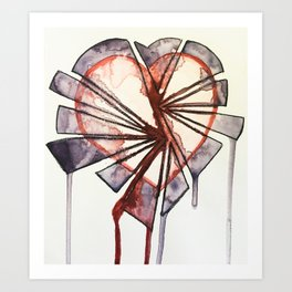 Shattered heart Art Print
