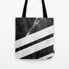 Black Striped Marble Tote Bag