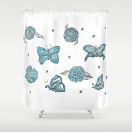 Butterfly flutterby blue Shower Curtain