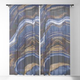 Blue Gold Marble Low Poly Geometric Triangle Art Sheer Curtain