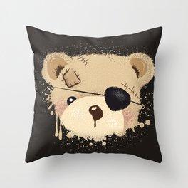 cute bear with eyepatch Throw Pillow