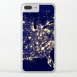 America Night Lights Clear iPhone Case