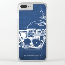2010 Triumph Bonneville SE, motorcycle blueprint, husbands gift, offer, original poster, fathers day Clear iPhone Case