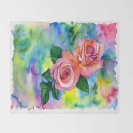 Noses in the Roses Throw Blanket