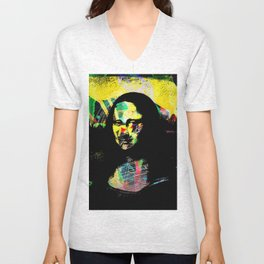 Mona Lisa POP ART PAINTING PRINT Unisex V-Neck