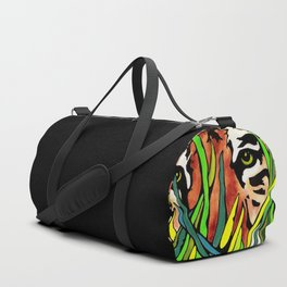 Tiger Eyes Looking Through Tall Grass By annmariescreations Duffle Bag