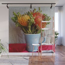 Flowers in a vase - with Pincushion Protea Wall Mural