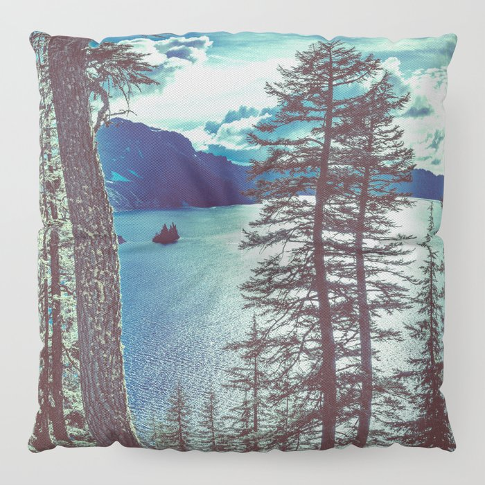 Crater Lake Vintage Summer Floor Pillow