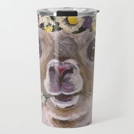 Alpaca Art, Alpaca Flower Crown Travel Mug