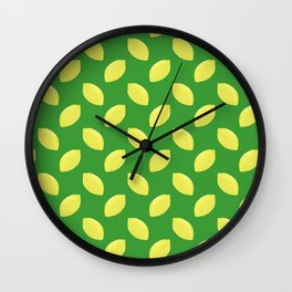 lemon pattern on green background Wall Clock